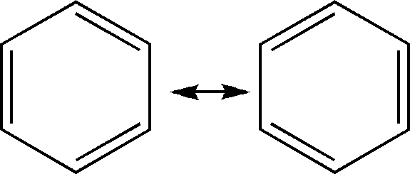 The Kekule structures of benzene.